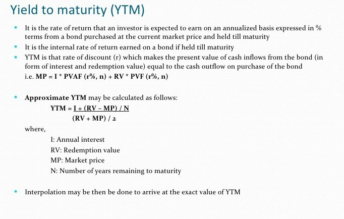 How is yield to maturity calculated