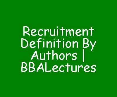 Recruitment Definition By Authors